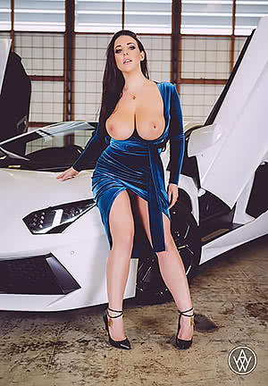 Angela White tits out in a blue dress