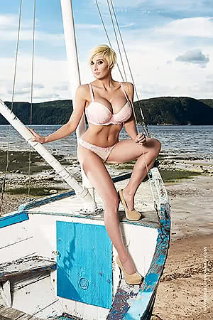 Marie-Claude Bourbonnais on a boat.