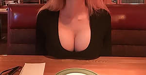 Resting my huge boobs on the table at Applebee's