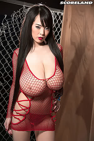 Hitomi Tanaka wearing a red fishnet dress