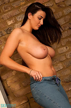 Joey Fisher about to take off her jeans