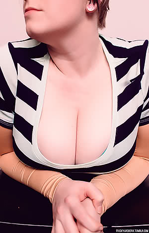 my wife's cleavage on display