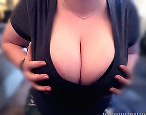 My slutty wife showing off her huge tits
