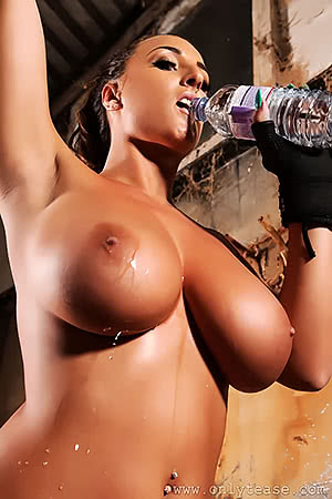 Stacey Poole having some water